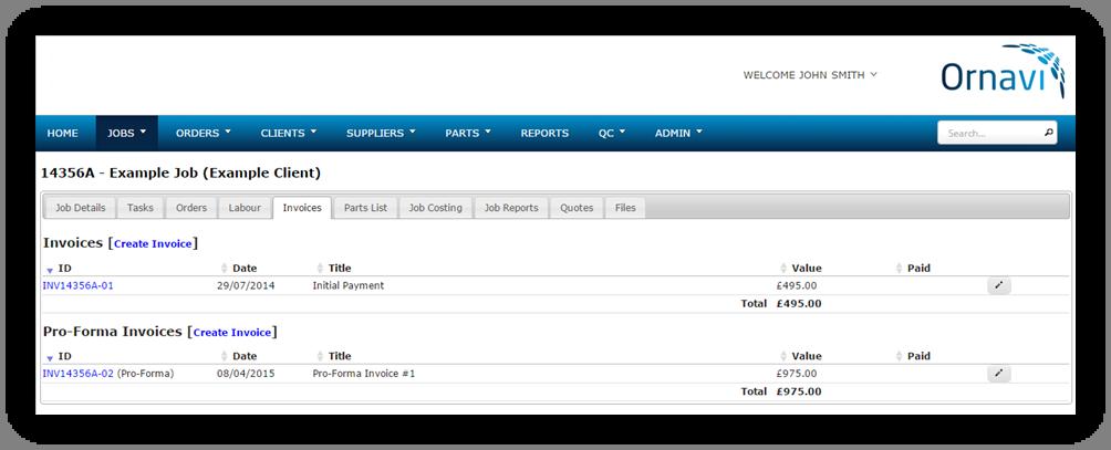 Invoice & Pro Forma Invoice List