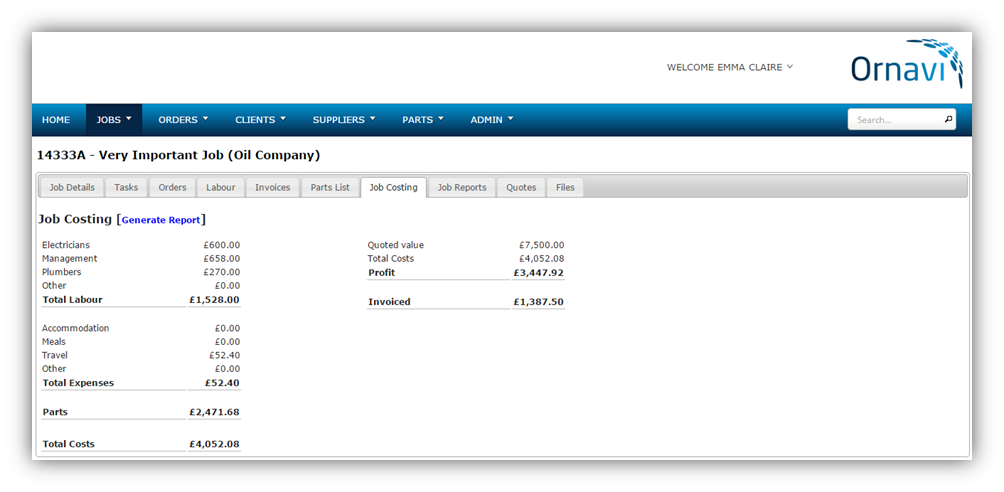 Ornavi Screenshot - Job Costing Report