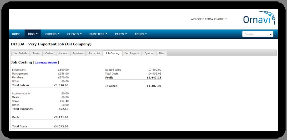Ornavi Screenshot - Job Costing Report