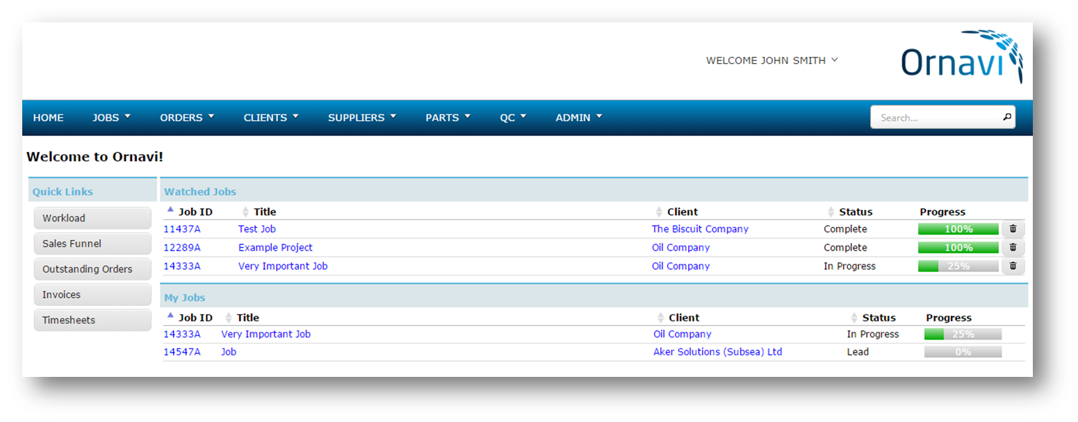 Ornavi Screenshot - Personalised Homepage with Workload