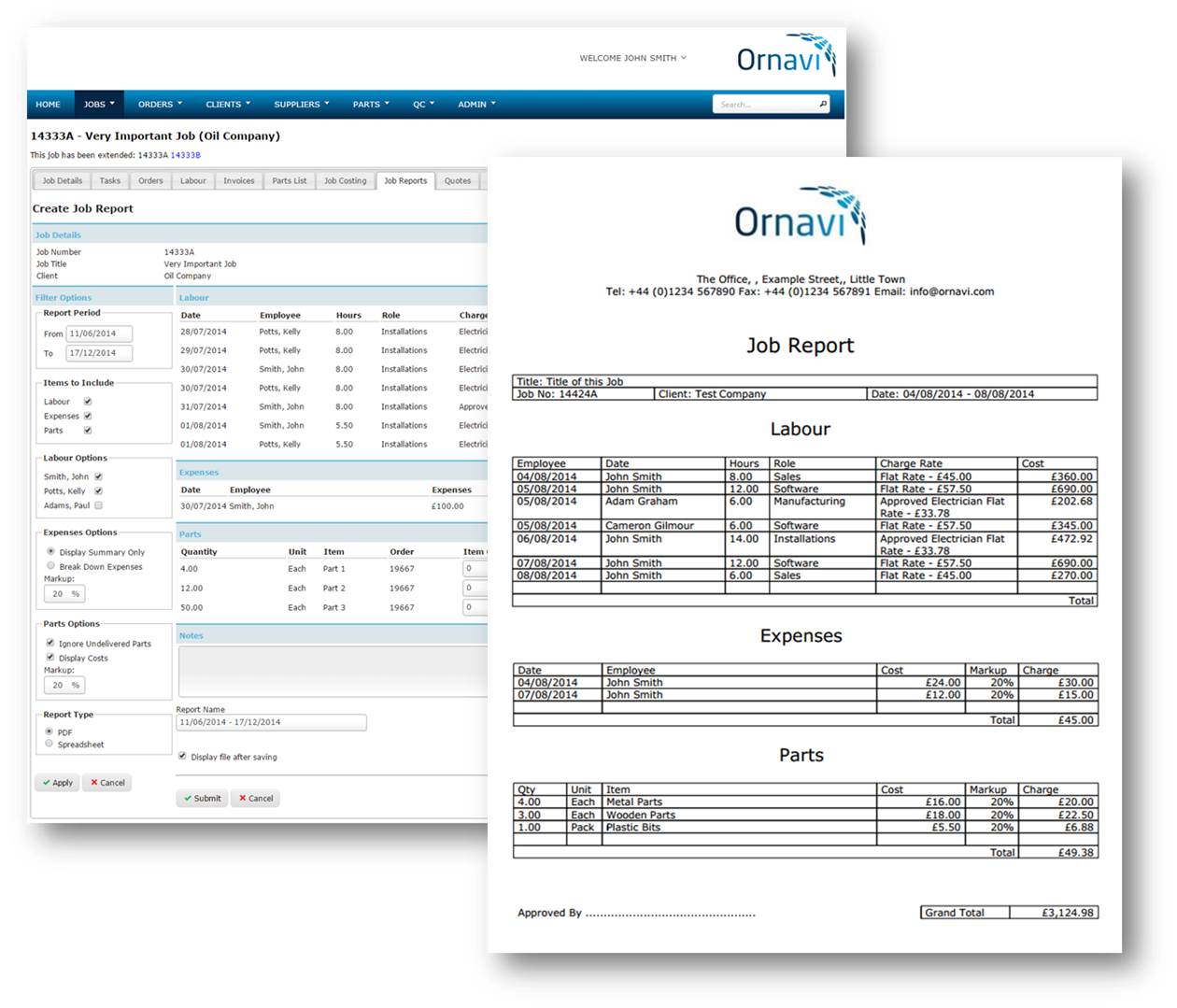 Ornavi Screenshot - Create Job Report and Final PDF