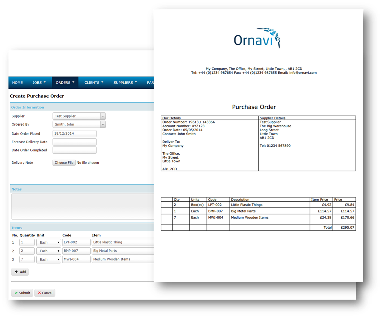 Ornavi Screenshot - Create a Purchase Order and Final PDF