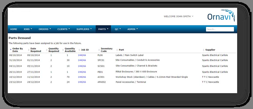 Ornavi Screenshot - Parts Demand Report