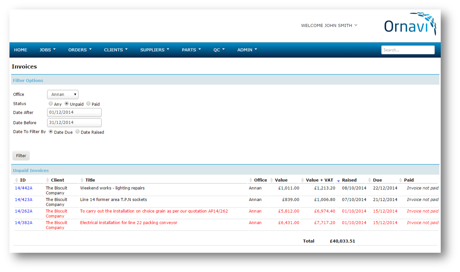Ornavi Screenshot - Unpaid Invoices