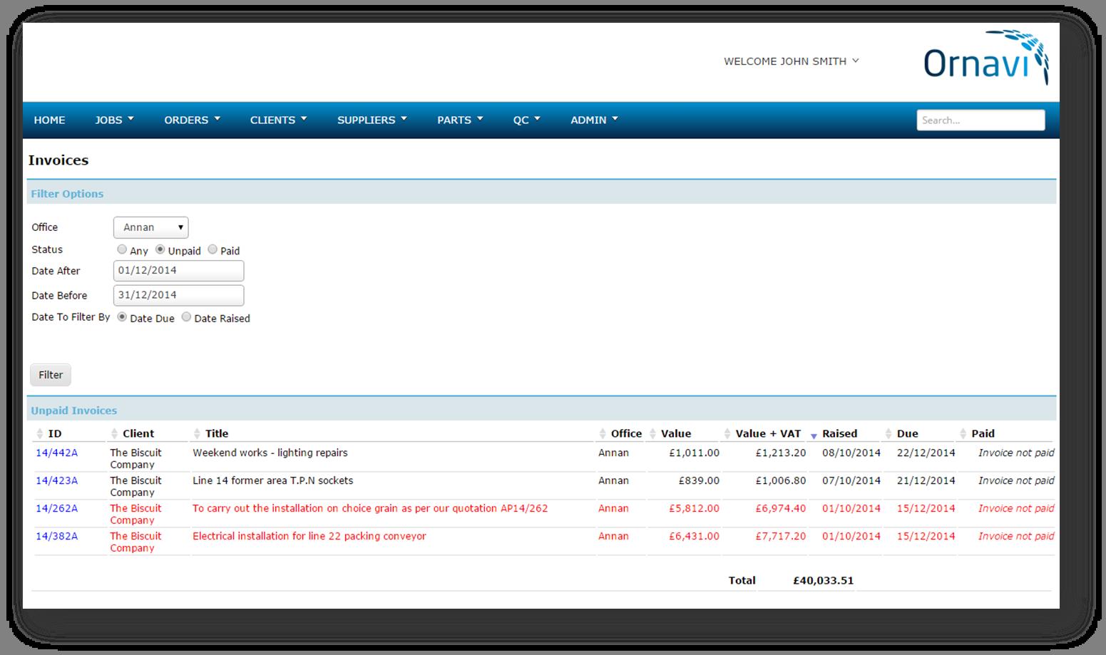 Ornavi Screenshot - Unpaid Invoices