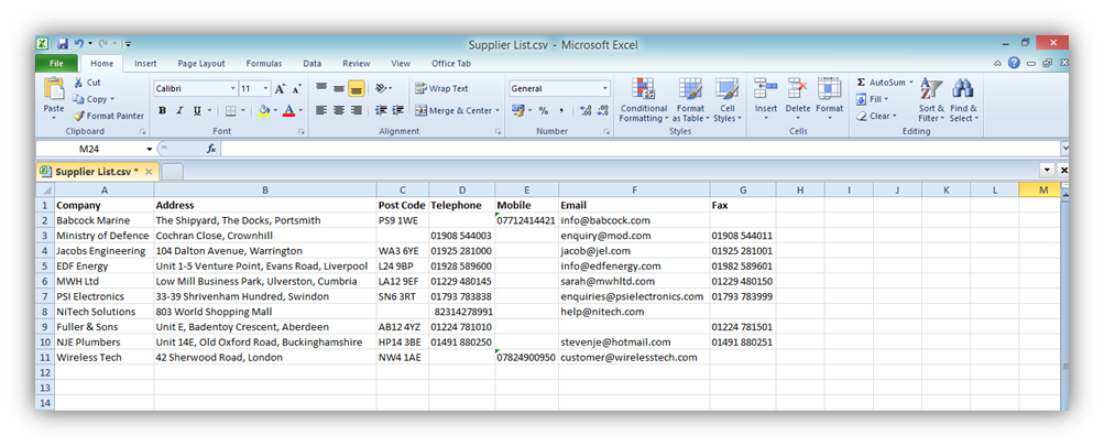 Supplier CSV file