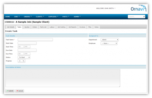 Job Folder - Create Task