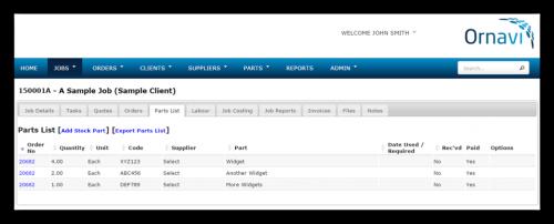 Job Folder - Parts List