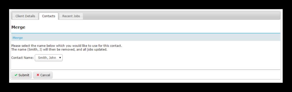 Client Folder - Merge Contact