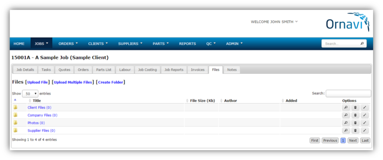Job Folder - Files Tab (Empty)