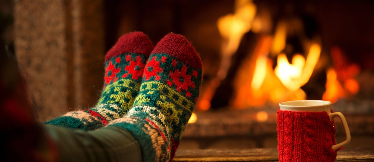 Feet up by the fire - Christmas socks