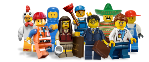 Group of Lego Figures - Chicken, Emmet, Astronaut, Plumber, Librarian, Business Man, Mexican, Space Scientist, Workman