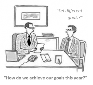 Office banter cartoon - business goals two men