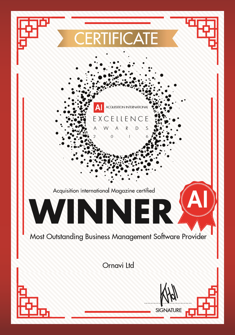 Most Outstanding Business Management Software Provider 2016 certificate