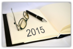 2015 diary, pen and spectacles