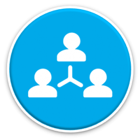 collaboration icon - three connected people